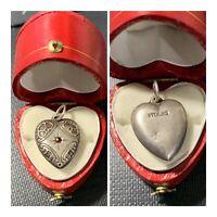 Vtg Art Nouveau Sterling Silver Repousse Puffy Heart Bracelet Charm W/ Garnet