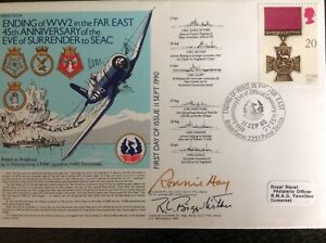 RNSC Cover - Surrender of Japanese WW2 Asia VJ Day - 2 Signed - HMS Victorious