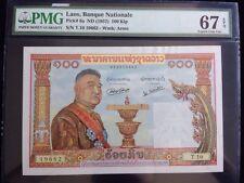 1957 Laos 100 Kip PMG 67 EPQ Banque Nationale Pick# 6a