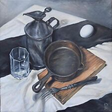 Original Russian oil on canvas USSR Socialist realism Painting still life 2015