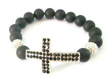 Onyx Bead & Crystal Cross Stretch Bracelet