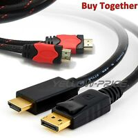 Braided 6FT HDMI Cable+1080P Displayport DP to HDMI Adapter Cable Dell ThinkPad