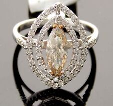 18K GOLD 1.45CT FANCY CHAMPAGNE COLOR/WHITE MARQUISE SOLITAIRE ENGAGEMENT RING