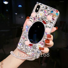Bling Crystals Diamonds Holder Stand back soft Case Cover For BlackBerry & strap