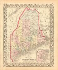 1874 ANTIQUE MAP - USA - STATE OF MAINE, PORTLAND AND VICINITY