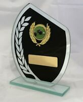 Lawn Bowls Glass Black Wreath 25mm Centre Trophy 165mm Engraved Free