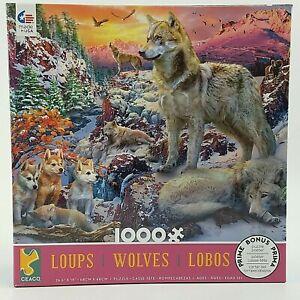 Ceaco Wolves 1000 Pc Puzzle - Bonus Poster Mountains Wolf Pack Lobos
