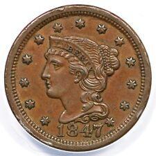 1847/7 N-2 ANACS AU 50 Braided Hair Large Cent Coin 1c