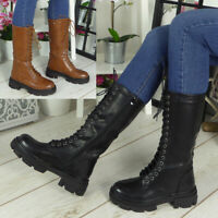 Womens Mid Calf Boots Ladies Punk Goth Lace Up Comfy Chunky Heel Zip Shoes Size