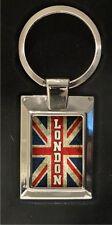 Union Jack Flag (distressed style) LONDON  - high polished metal keyring