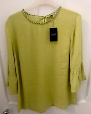 Ladies New Next Embellished Blouse Lime Green Size 12