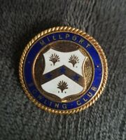 THOMAS FATTORINI MILLPORT BOWLING CLUB ENAMEL GOLDTONE BOWLS  BADGE