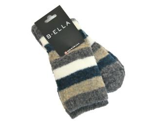 B. Ella Ladies Merino Wool Blend Crew Socks Lexy Stripe Teal Grey Camel Ivory