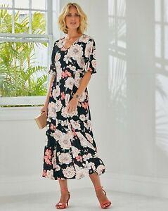 JULIPA LADIES CRINKLE DRESS FLORAL PRINT SIZE 18 NEW (ref 718)