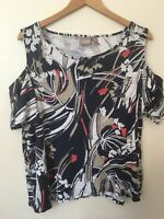 Chico's Knit Tunic Top Cold Shoulder Blue White Coral Floral 3 16 18 Flutter