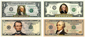 Set of 4 - COLORIZED 2-SIDED US Bills Currency $1/$2/$5/$10 Genuine Legal Tender