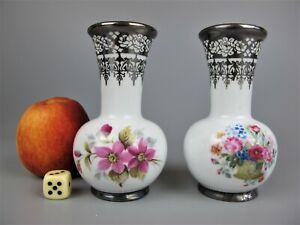 Superb pair of vintage silver inlaid Artlynsa porcelain Posy Vases. Spain. 11 cm
