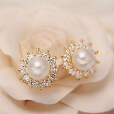 Clear Rhinestone Gem Wedding Pierced Earrings Flower Pearl  Round Eardrop Stud