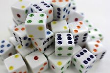 "WHOLESALE LOT OF 50 WHITE DICE MULTICOLOR PIPS 6 SIDED D6 DIE GAME SIX 5/8""16mm"