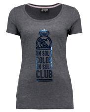 Para mujer Talla 10 Real Madrid de Algodón un CUB T SHIRT Top Gris De Fútbol Soccer