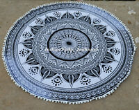 Traditional Mandala Ombre Beach Tapestry Hippie Throw Yoga Mat Indian Roundie