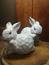 Bunny Rabbits White Brown Figurines Pair Easter Spring French Country Garden