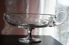 Beautiful Cut Glass Etched Flowers Leaves Handled Footed Candy Compote Dish Bowl
