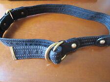 "D&G Dolce & Gabbana Black Leather Women's Belt with Gold Studs Size 30"" 75cm"