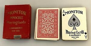 Antique Deck Pinochle Monitor Playing Cards Dougherty in Original Box & Tax Seal