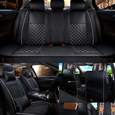 Deluxe All Season 5-Seat Leather Full Car Seat Cover Set 3D Cushion + 4 Pillows