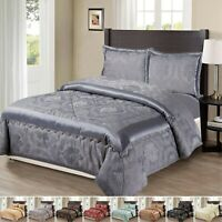 Heavy Jacquard 3 Piece Quilted Comforter Throw Set With Pillow Shams Bedspread