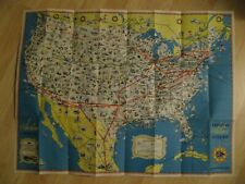 """American Airlines 1940's Route Map Poster - Vintage 31.5"""" X 24"""" AA Air Lines Map"""