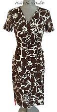 NWT Diane von Furstenberg New Julian Two Brown Floral Print Jersey Wrap Dress 6