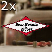 2x pieces Surfboards by Jacobs sticker decal hot rod surfing Hawaii aloha 6""