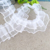 10Yds Pleated Mesh Lace Trim Ruffled Sewing Ribbon DIY Dress Skirt Edge Trimming