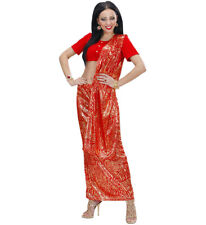 Ladies Red Indian Sari Fancy Dress Costume Bollywood Outfit Uk 14/16 Womens