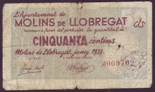 BILLETE LOCAL - MOLINS DE LLOBREGAT - 50 CTS.  AÑO 1937. BC