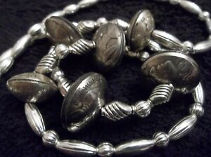 OLD PAWN NAVAJO SILVER SMITH MERCURY DIME SQUASH BLOSSOM NECKLACE STERLING COIN