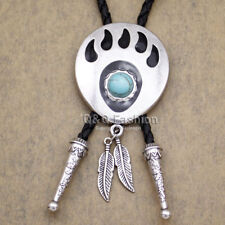 Funky Silver Bear Paw Claw Grizzly Feather Turquoise  Rodeo Bolo NECKTie