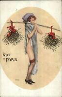Raphael Kirchner Beautiful Woman Semi Nude GUI DE PARIS c1910 Postcard