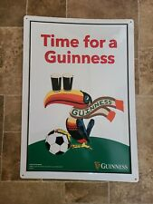 Guinness Beer Tucan Bird Embossed Tin Sign Soccer Ball Scarf Game Room Sports