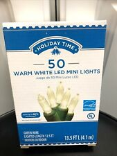 Holiday Time 50 Count Warm White LED Mini Lights On A Green Wire