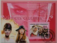 Comoros /Famous Actresses - S.Morceau, A.Hebpurn / 1v minisheet CTO