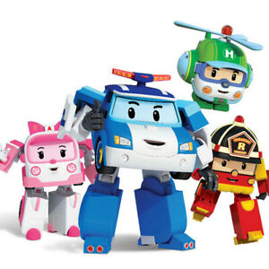 4Pcs Robocar Poli Transformation Robot Car Toys South Korea Cartoon Kids Gift