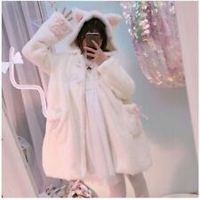 Lady Girls Lolita Hooded Coat Jackets Faux Fur Cat Ear Kawaii Sweat Winter Sleep