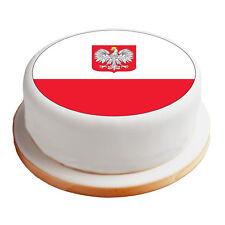 """Poland / Polish Flag - 8"""" Pre-Cut Round Cake Topper Premium Sugar Icing Sheet"""