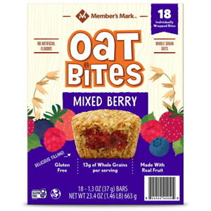 Members Mark Gluten Free Mixed Berry Oat Bites (!8 Pack) Great Value!