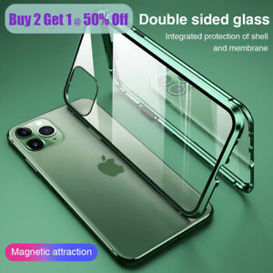iPhone 7 8 P X XS 11 Pro Max Magnetic Adsorption 360° Case Cover Tempered Glass