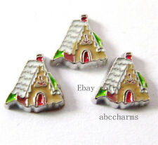LOT 10 pieces Gingerbread House  floating charms for living locketFC326