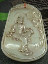 Chinese Antique Celadon Nephrite Hetian-Jade KUAN YIN Statues/Pendant537